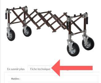 fiche technique: détails d'un chariot